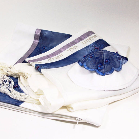 Floral Detail Tallit Set in Blue and Purple - ModernTribe