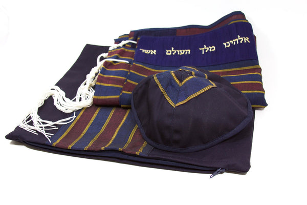 Temple Tallit Tallis Tallit Set in Navy and Maroon