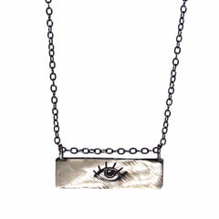 Handmade Sterling Silver Eye Bar Necklace by Symbology - ModernTribe - 1