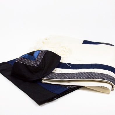 Tallit Set in Blue, Gray, and Black by Temple Tallit - ModernTribe - 1