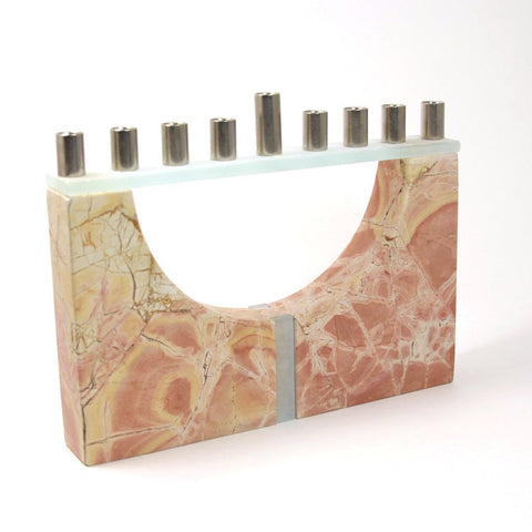 Jerusalem Stone Menorah with Cut-Out Center by CJ Art - ModernTribe - 1