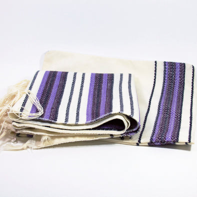 Tallit in Striped Purple and Black by Temple Tallit - ModernTribe - 1