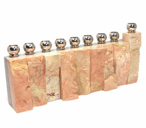 Textured Jerusalem Stone Menorah by CJ Art - ModernTribe - 1