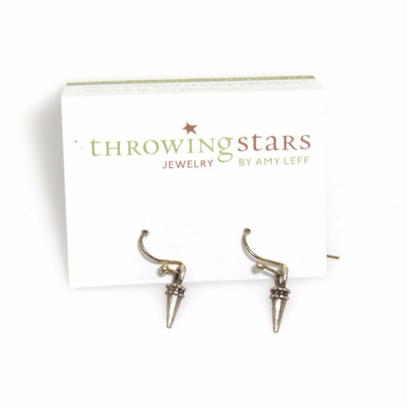 Small Silver Spike Earrings by Throwing Stars Jewelry - ModernTribe - 2