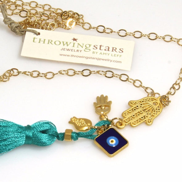 Hamsa Tassel Necklace by Throwing Stars Jewelry - ModernTribe - 2