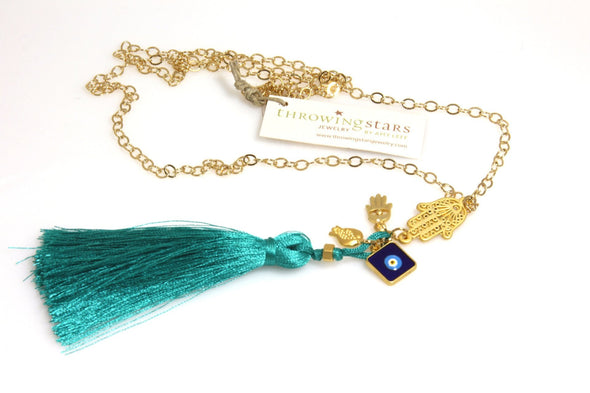 Hamsa Tassel Necklace by Throwing Stars Jewelry - ModernTribe - 3