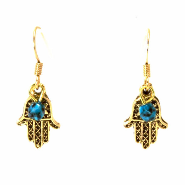 Jillery Gold Hamsa Earrings With Turquoise Bead - ModernTribe