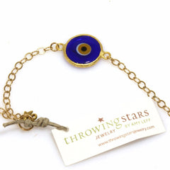 Blue & Gold Evil Eye Bracelet by Throwing Stars Jewelry - ModernTribe - 1