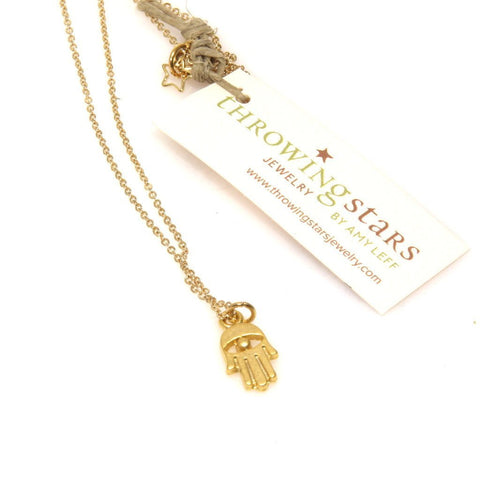 Gold Hamsa Necklace by Throwing Stars Jewelry - ModernTribe - 1
