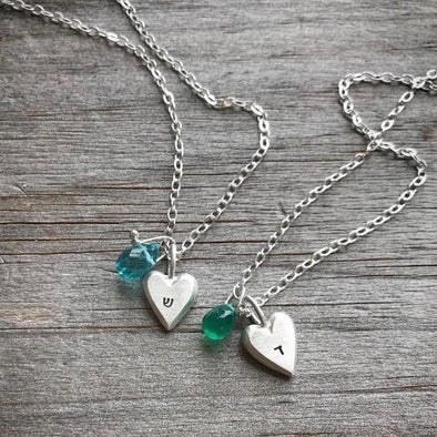 Emily Rosenfeld Necklaces Personalized Tiny Heart Necklaces by Emily Rosenfeld In Hebrew