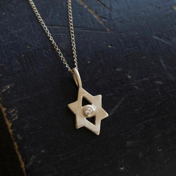 Emily Rosenfeld Necklaces Gold 14k Gold Tiny Star of David Amulet with 2mm Diamond by Emily Rosenfeld
