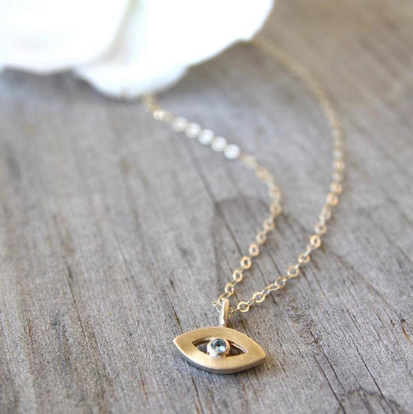Emily Rosenfeld Necklaces 14k Gold Tiny Evil Eye Amulet by Emily Rosenfeld
