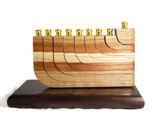 Mixed Wood Menorah