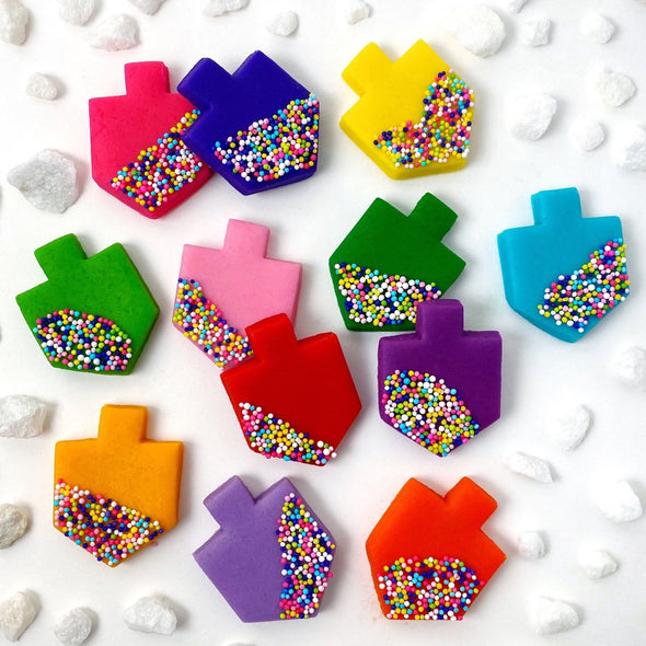 Marzipops Food Rainbow Sprinkle Dreidel Tiles - Rainbow or Blue