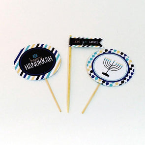 ModernTribe's Flag Light, Joy, Latkes Cupcake/Donut Toppers - Set of 12 by ModernTribe - ModernTribe - 6