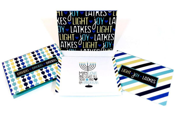 ModernTribe's Light, Joy, Latkes Hanukkah Cards - Set of 8 by ModernTribe - ModernTribe - 2