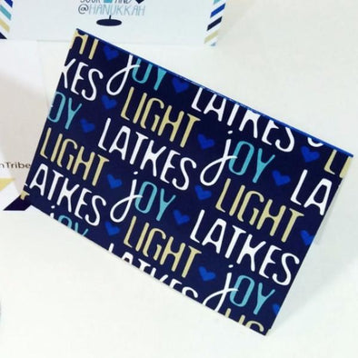 Light, Joy & Latkes Blue Hanukkah Card Single by ModernTribe - ModernTribe
