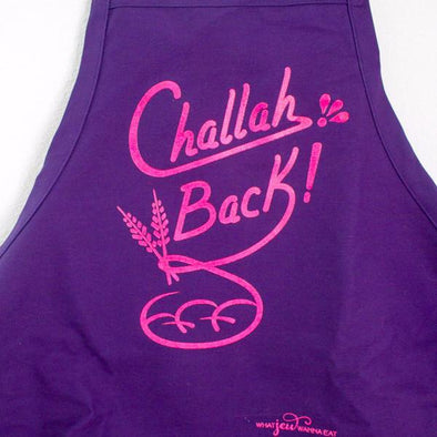 What Jew Wanna Eat Aprons Challah Back Apron - Purple and Pink
