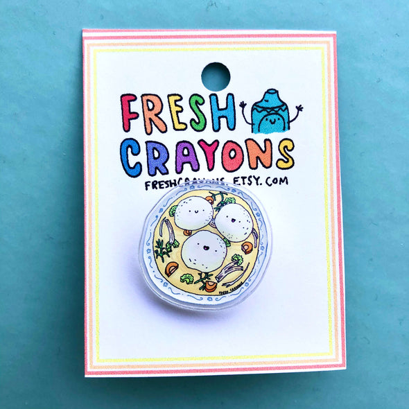 Fresh Crayons Brooches & Pins Bubbe's Matzo Ball Soup Pin by Fresh Crayons
