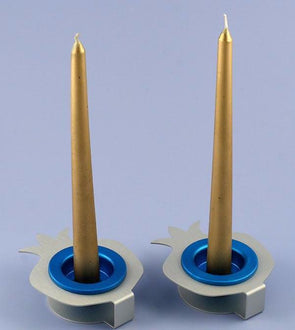 Double Rimon Shabbat Candle Holders - Blue