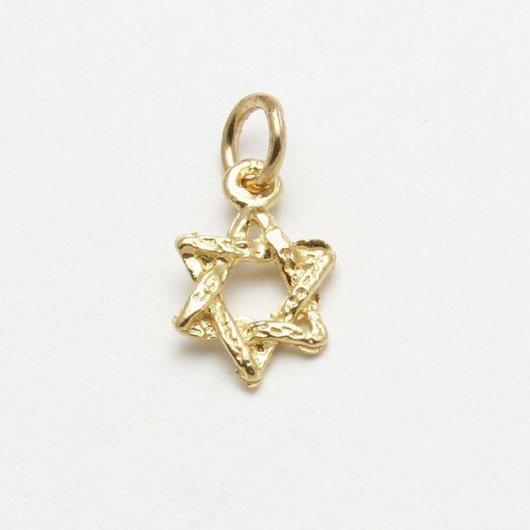 Tiny 14k Gold or White Gold Rustic Star of David Pendant - ModernTribe