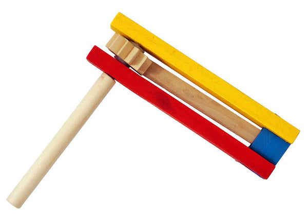 JET Toy Red, Yellow & Blue Primary Colors Wooden Groggers (Noisemakers)