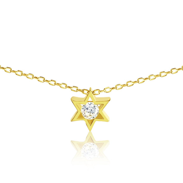 Gold Jewish Star of David Charm With Center Stone