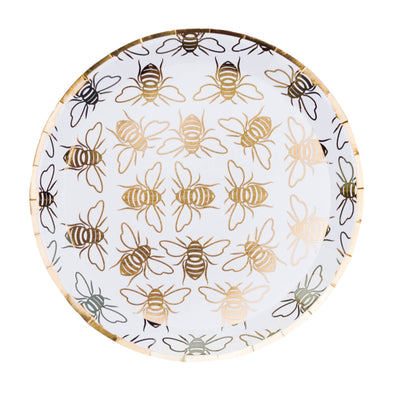 Jollity Plate Gold Hey Bae-Bee, Dessert Plates - Set of 8