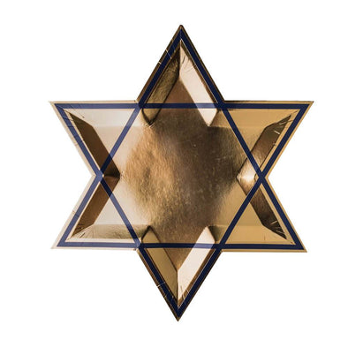 Jollity Plate Gold/Blue Star of David Plates