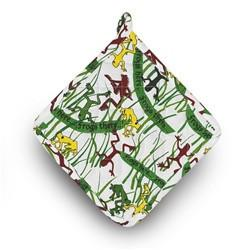 Kosher Cook Aprons Pot Holder / Green Frog Print Passover Kitchen Set