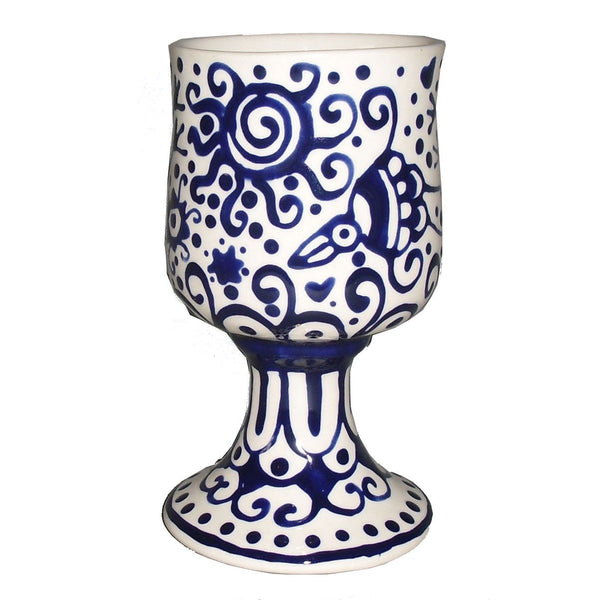 Julie Stein Kiddush Cup Blue & White Kiddush Cup