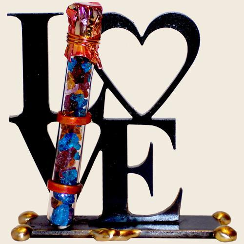 Gary Rosenthal Decor Laser Cut LOVE Sculpture With Shards Tube by Gary Rosenthal