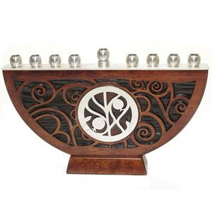 Craftsman Oak Swirl Menorah by Lev Studios - ModernTribe - 1