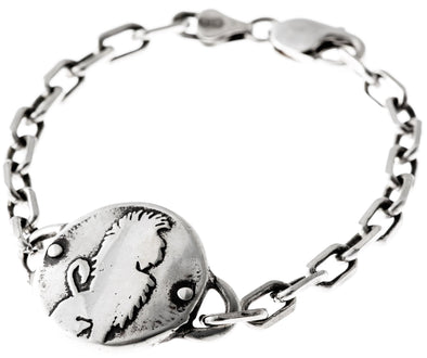 Sterling Silver Lion Medallion Heavy Link Bracelet by Marla Studio - ModernTribe