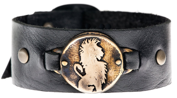 Bronze Lion Leather Cuff Bracelet - ModernTribe
