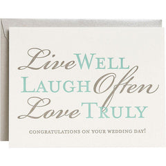 Congratulations on Your Wedding Card - Live Well, Laugh Often, Love Truly by Waste Not Paper - ModernTribe