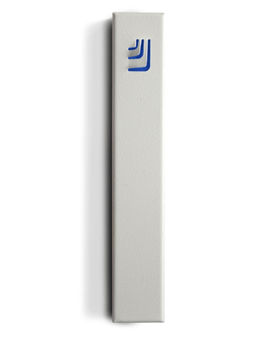 Metal Folded Shin Mezuzah in White and Blue by ceMMent