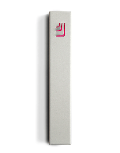 Metal Folded Shin Mezuzah in White and Pink by ceMMent - ModernTribe