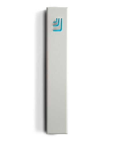 Metal Folded Shin Mezuzah in White and Turquoise by ceMMent