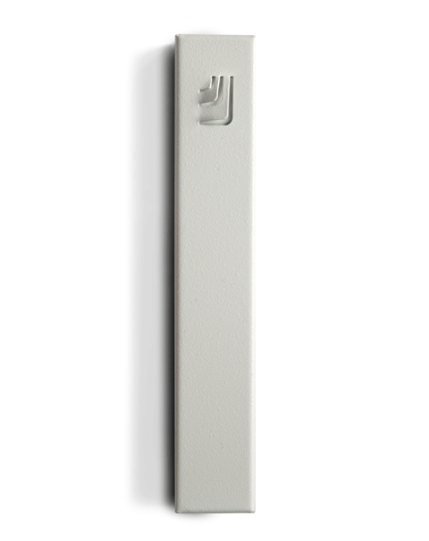 Metal Folded Shin Mezuzah in White and White by ceMMent