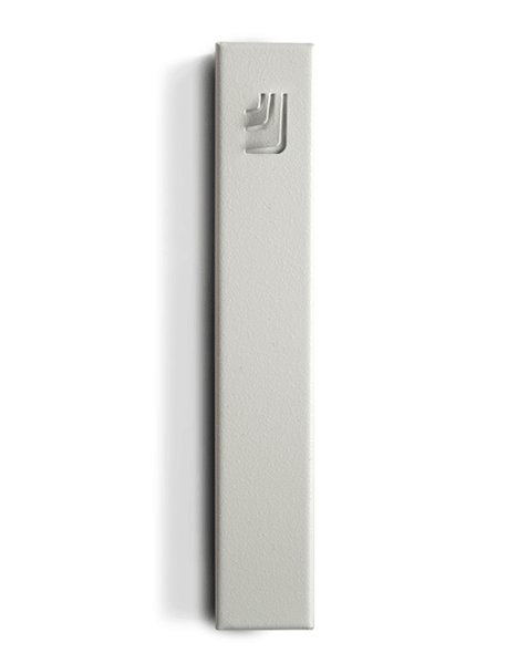 Metal Folded Shin Mezuzah in White and White by ceMMent - ModernTribe