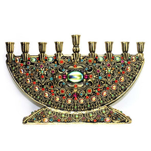 Michal Golan Handmade Black and Crystal Menorah