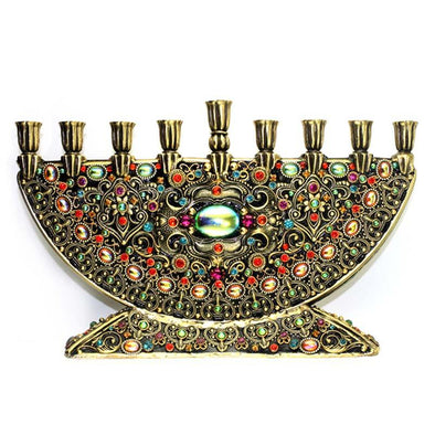 Michal Golan Handmade Black and Crystal Menorah - ModernTribe