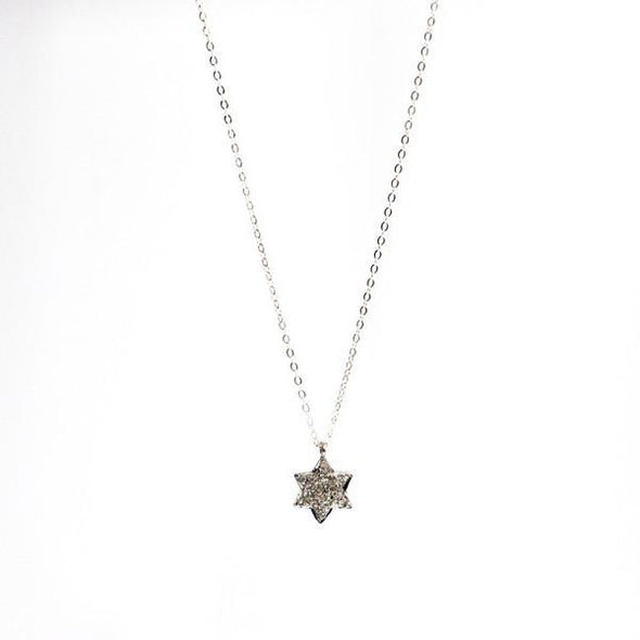 Pave Diamond Silver Star of David Necklace by Throwing Stars Jewelry - ModernTribe - 2