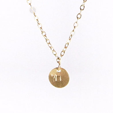 Stamped Chai Necklace in Gold by Throwing Stars Jewelry - ModernTribe - 1