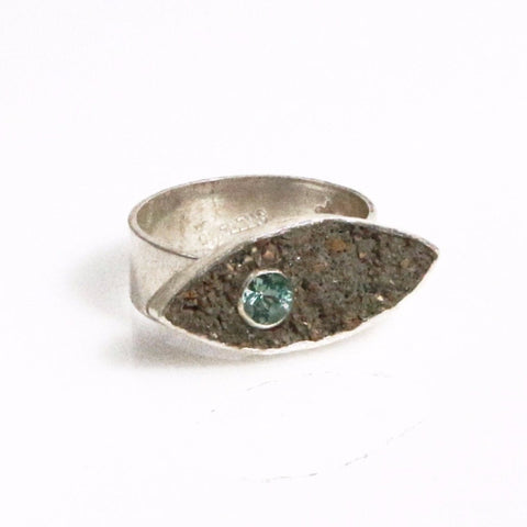 Concrete and Silver Eye Ring by Throwing Stars Jewelry - ModernTribe - 1
