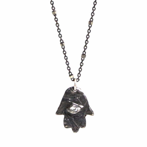 Oxidized Sterling Silver Hamsa Necklace with Diamond Eye by Throwing Stars Jewelry - ModernTribe - 1