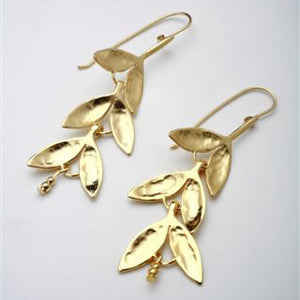 Aura Gold Leaf Drop Earrings by Aura - ModernTribe