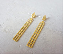 Manhattan Post Earrings in Gold by Shlomit Ofir - ModernTribe - 1