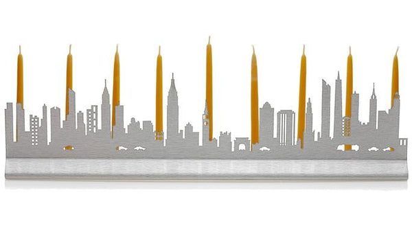 Valerie Atkisson Menorah Manhattan Skyline Menorah